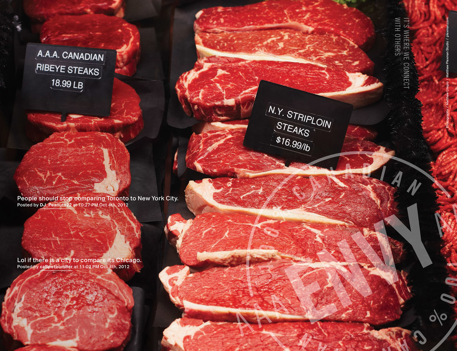 A food photo of steaks at a butcher shop in Ottawa by photographer Matthew Liteplo