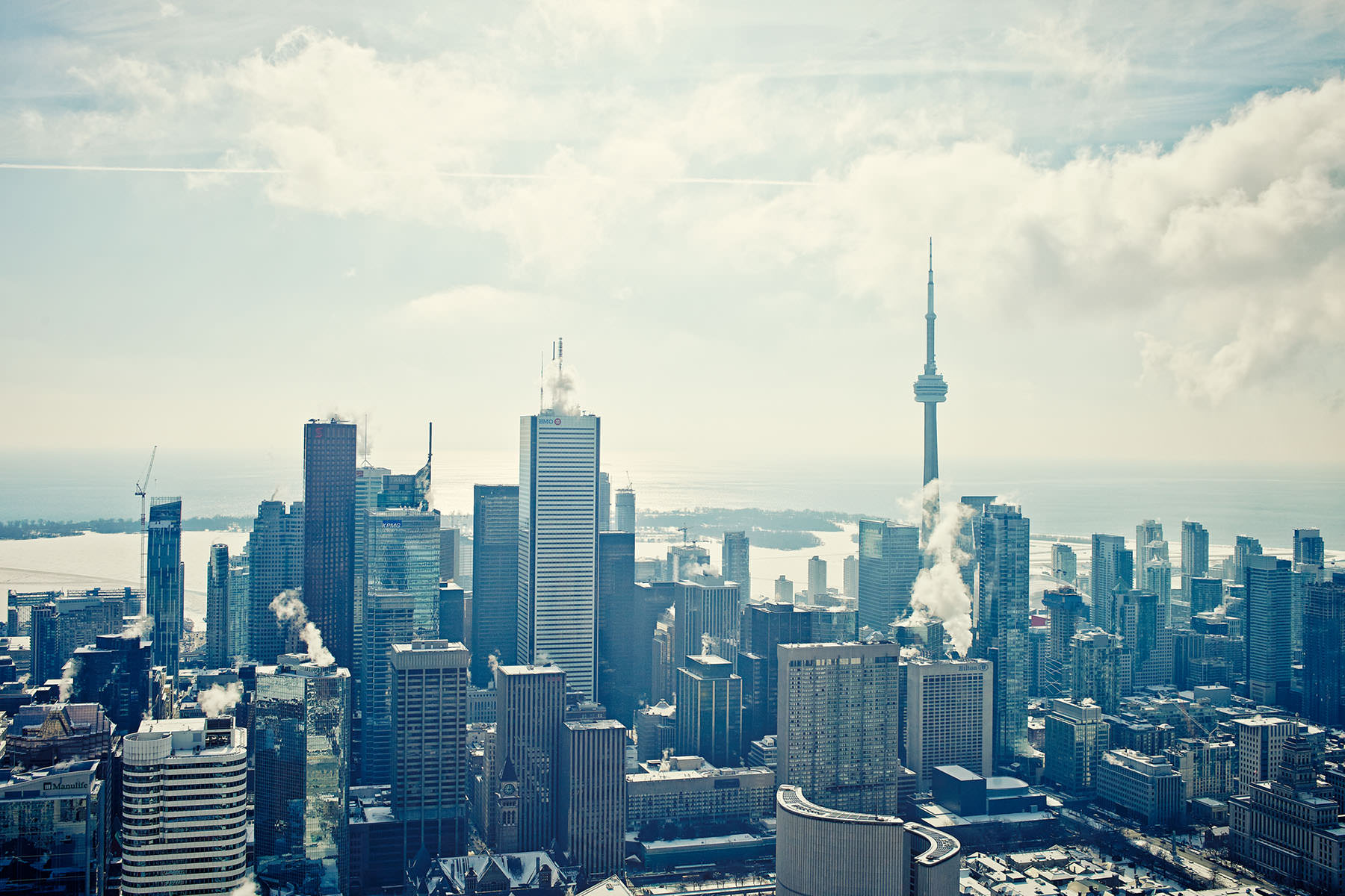 A city scape image taken for a publishes book in Toronto from on top of the Aurora building. It