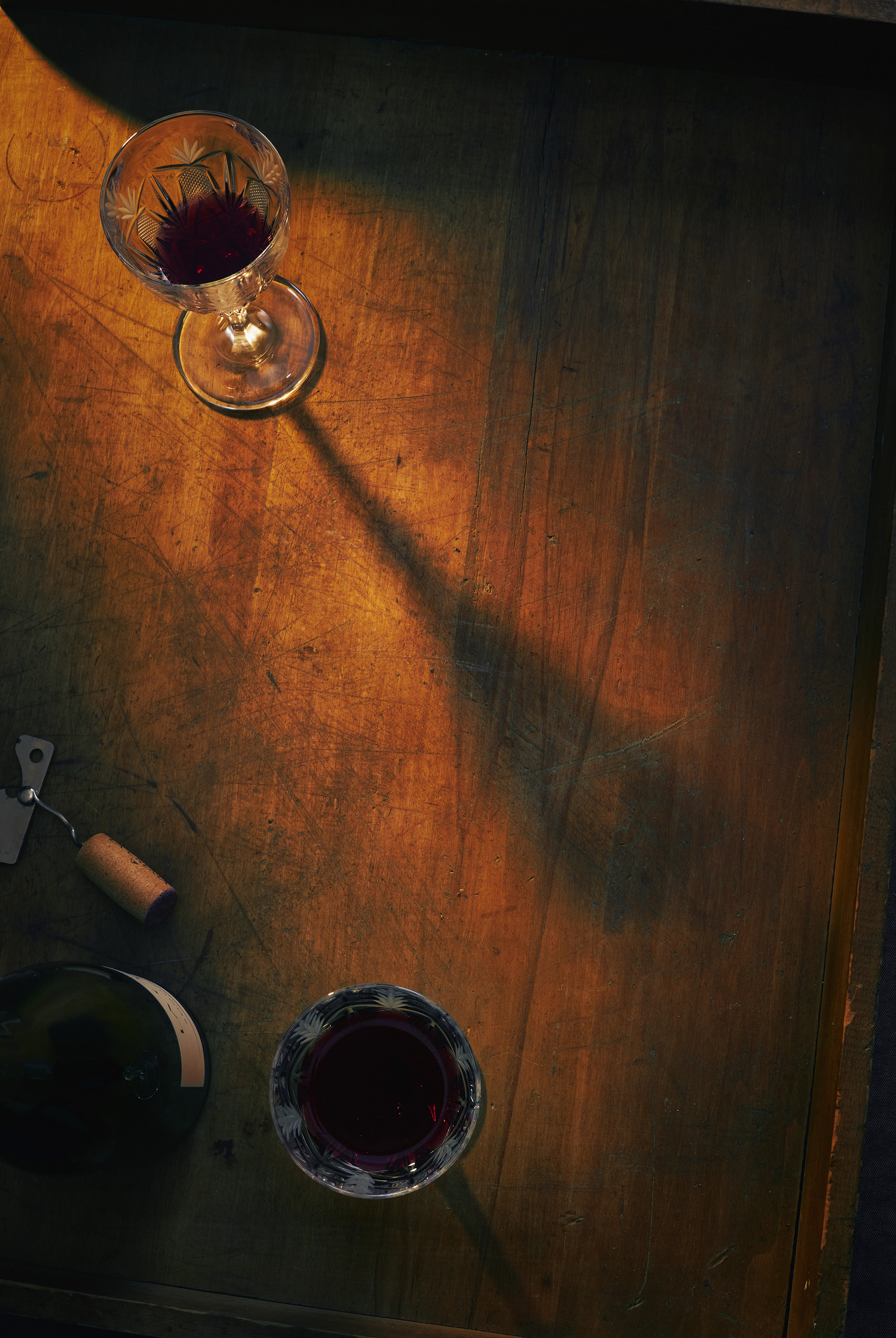 Ottawa food content photographer Matthew Liteplo created this moody portrait of some nice wine. It